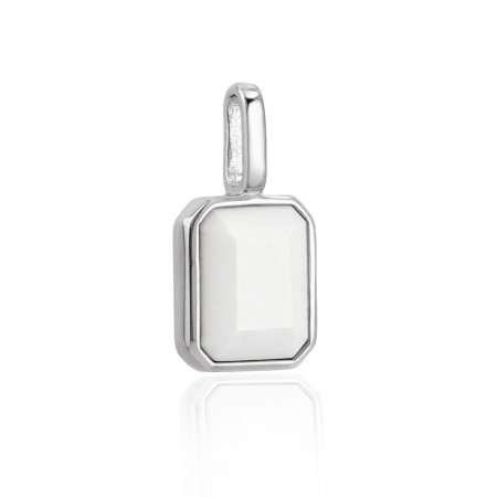 Miracle Stone Collection Weißer Achat Square 925 Sterlingsilber Test