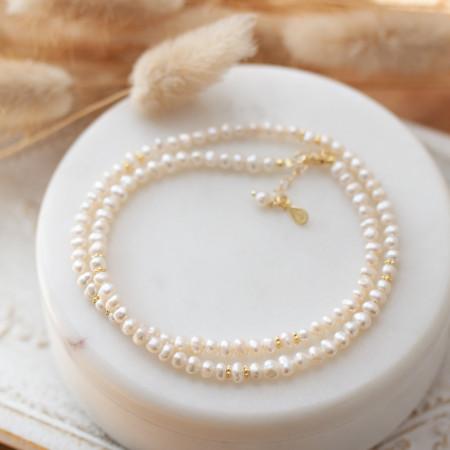Perlenkette mit Süßwasserperlen aus recyceltem 925 Sterlings Silber 18K vergoldet Test