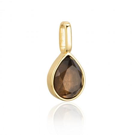 Miracle Stone Collection Rauchquarz Teardrop 925 Sterlingsilber 18K vergoldet Test