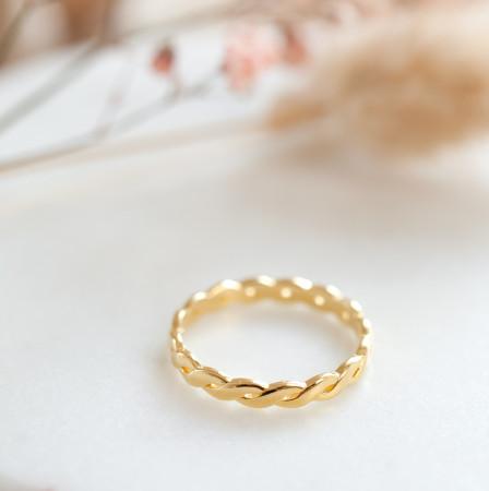 Braided Ring Slim aus 925 Sterlingsilber 18K vergoldet Test