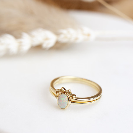 Ring Set Aria mit Opal 925 Sterlingsilber 14K vergoldet Test