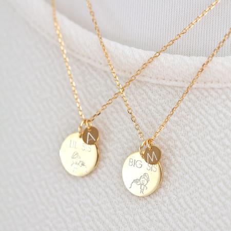 Schwestern Gravur Coin Ketten 925 Sterlingsilber 18K vergoldet Test