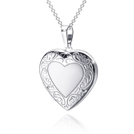 Verziertes Herz Medaillon 925 Sterling Silber Test