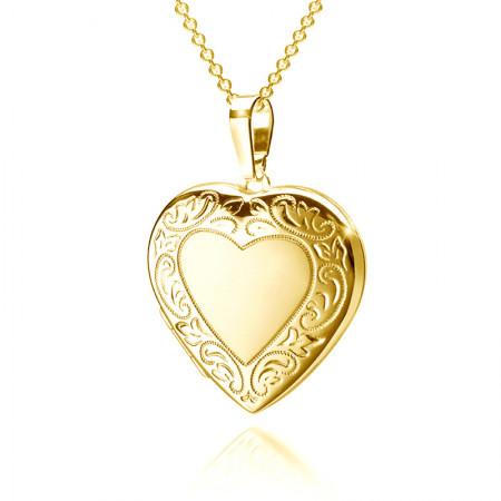 Verziertes Herz Medaillon 925 Sterling Silber 18K vergoldet Test