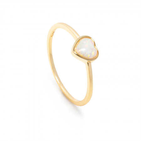 Herz Ring Amelie 925 Sterlingsilber 14K vergoldet mit Opal Test