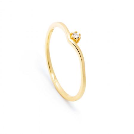 Ring Alina aus 925 Sterlingsilber 18K vergoldet mit Zirkonia Test
