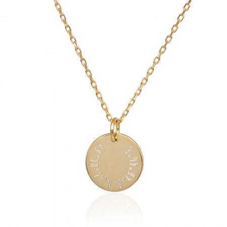 Gravur Coin Kette mit Koordinaten 925 Sterlingsilber 18K vergoldet Test