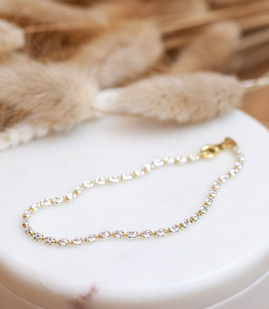 Kugelarmband Bicolor diamantiert 925 Sterlingsilber und 18K Vergoldung Test