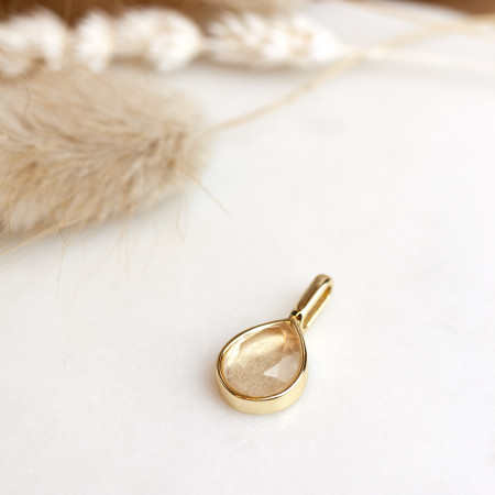 Miracle Stone Collection Rosenquarz Teardrop 925 Sterlingsilber 14K vergoldet Test