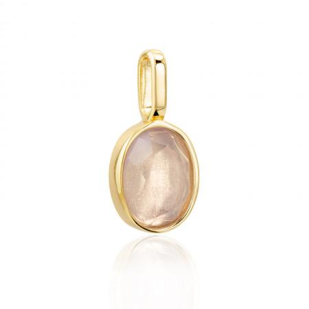 Miracle Stone Collection Lavendelquarz Oval 925 Sterlingsilber 14K vergoldet Test