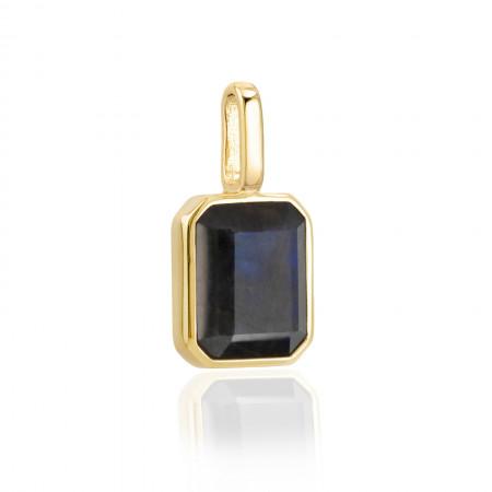 Miracle Stone Collection Labradorit Square 925 Sterlingsilber 14K vergoldet Test