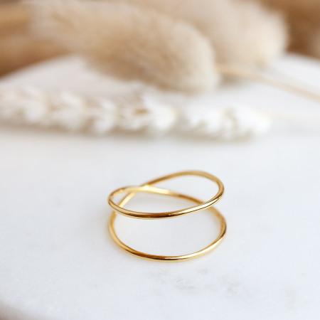 2-Reihiger Ring Melina 925 Sterlingsilber 24K vergoldet Test