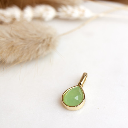 Miracle Stone Collection Grüner Chalcedon Teardrop 925 Sterlingsilber 14K vergoldet Test