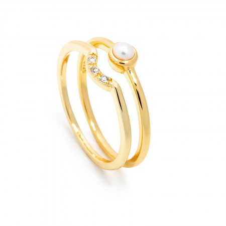Ring Set Nora mit Süßwasserperle 925 Sterlingsilber 14K vergoldet Test